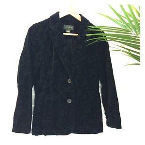 Eddie Bauer black velour embroidered jacket